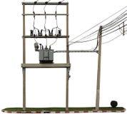 Den elektriska pol- och elkrafttransformatorn royaltyfri foto