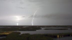 Den elektriska stormen att närma sig blixtslag Galveston Texas Royaltyfria Bilder
