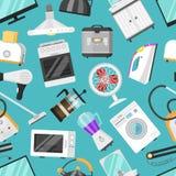 Den elektroniska homeappliancen för kök för vektorn för hushållanordningar för elkraft för husuppsättningkylskåp eller för tvagni stock illustrationer