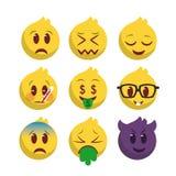 Den Emoji symbolen ställde in med nio beståndsdelar royaltyfri illustrationer