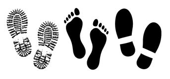 Den endast skon, fotspårmänniska skor konturvektorn, barfota fot för fot vektor illustrationer