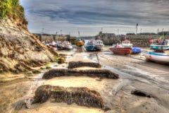 Den engelska hamnen Newquay Cornwall södra västra England UK gillar en målning i HDR Royaltyfria Foton