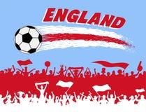 Den England flaggan färgar med fotbollbollen och engelsk supportersilh arkivfoto