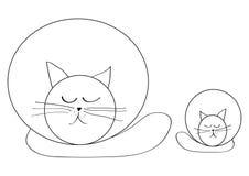 Den enkelhetsteckningen, katten och pott som kopplar av, stängde ögon stock illustrationer