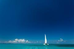 Den enkla katamaran med högväxt vit seglar kryssningar i tropiskt vatten i Britishen Virgin Islands Royaltyfria Foton