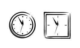 Den enkla klockan skissar Arkivbild