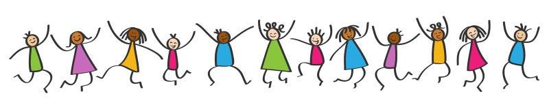 Den enkla pinnen figurerar banret, lyckliga mångkulturella ungar som hoppar, händer i luften vektor illustrationer
