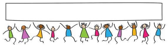 Den enkla pinnen figurerar banret, lyckliga mångkulturella ungar som hoppar, tomt vitt affischbräde stock illustrationer