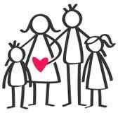 Den enkla pinnen figurerar den lyckliga familjen, modern, fadern, sonen, dottern, barn, röd hjärta som isoleras på vit bakgrund vektor illustrationer