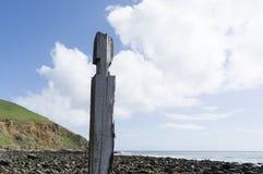 Den enkla pylonpelarstolpen, brygga fördärvar, den Myponga stranden, SA Fotografering för Bildbyråer