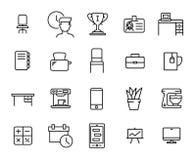 Den enkla samlingen av affärsworkspace gällde linjen symboler stock illustrationer