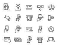 Den enkla samlingen av mobil kommers gällde linjen symboler royaltyfri illustrationer