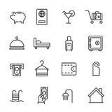Den enkla samlingen av rumservice gällde linjen symboler vektor illustrationer