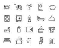 Den enkla samlingen av rumservice gällde linjen symboler stock illustrationer