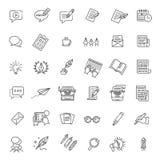 Den enkla uppsättningen av Copywriting gällde vektorlinjen symboler Arkivbilder