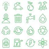 Den enkla uppsättningen av Eco gällde vektorlinjen symboler Royaltyfri Bild