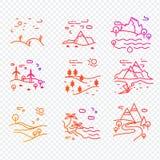 Den enkla uppsättningen av Eco gällde vektorlinjen symboler Royaltyfria Bilder