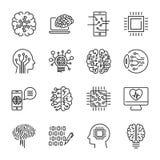 Den enkla uppsättningen av den släkta linjen symboler för konstgjord intelligens innehåller Arkivfoto