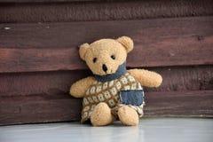 Den ensamma leksakbjörnen sitter Arkivbild