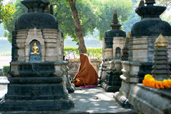 Den ensamma munken ber till Buddha i parkera Arkivfoto