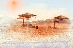 Den ensamma strandvattenfärgen skissar målning stock illustrationer