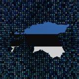 Den Estland översiktsflaggan förhäxer på kodillustrationen stock illustrationer