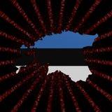 Den Estland översiktsflaggan på rött förhäxer kodbristningsillustrationen stock illustrationer
