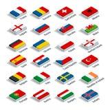 Den europeiska fotbollmästerskapet 2016 i Frankrike grupperar vektorn Plan isometrisk illustration 3d stock illustrationer