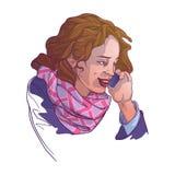 Den europeiska unga kvinnan i vinter beklär att tala på telefonen och att le Kulöra linjära skissar isolerad n-vit Arkivfoton