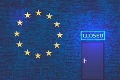 Den europeiska unionen mot illegala invandrare royaltyfri illustrationer