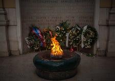 Den eviga flamman är en minnesmärke till offren av det andra världskriget i Sarajevo royaltyfri fotografi
