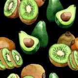 Den exotiska lösa fruktmodellen för kiwin och för avokadot i en vattenfärg utformar Arkivbild