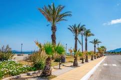 Den exotiska sikten gömma i handflatan på kusten, den grekiska ön Royaltyfri Bild