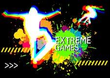 Den extrema sportskateboardershowen plaskar på färgbakgrund Royaltyfria Foton
