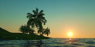 Den extremt detaljerade och realistiska höga illustrationen för upplösning 3D av en tropisk ö med gömma i handflatan Royaltyfri Foto