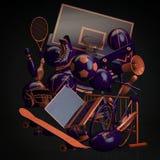 den färga utrustningillustrationen skidar sportvatten vektor illustrationer
