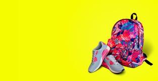 den färga utrustningillustrationen skidar sportvatten Bakgrund för gymnastikskoryggsäckguling Begrepp a Royaltyfria Foton