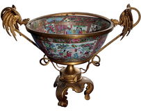 den färgade antikviteten isolerade vasen arkivfoto