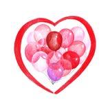 Den färgade blyertspennaillustrationen skissar av röda rosa och genomskinliga ballonger i formen av en hjärta royaltyfri illustrationer