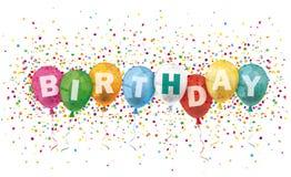 Den färgade födelsedagtitelraden sväller konfettiexplosion stock illustrationer