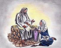 Den färgade handteckningen ritar Jesus Royaltyfri Bild