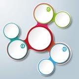 Den färgade Infographic designen kedjar fast vita cirklar 3 alternativ royaltyfri illustrationer
