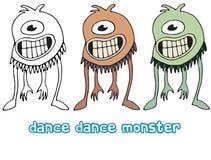 Den f?rgade roliga tecknade filmen skriver handen - gjorde attraktionklotter som gigantiska fr?mlingar dansar cyclops royaltyfri illustrationer