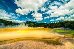 Den färgglada thermalen landskap i nyazeeländskt Royaltyfri Fotografi