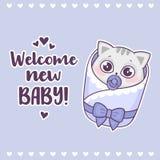 Den färgrika baby shower med gulligt välkommet nytt för för pojkekatt och inskrift behandla som ett barn Arkivbilder