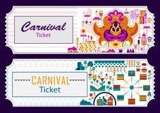 Den färgrika biljetten av gyckel fyllde bakgrund för karnevalfestivalmallen vektor illustrationer