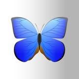 Den färgrika blåa fjärilen med konturn för gåva för flugan för abstrakt dekorativ modellsommar den fria och skönhetnaturen fjädra Royaltyfria Bilder