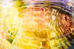Den färgrika blomman av vattenreflexionen och vatten tappar Arkivbild
