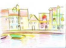 Den färgrika blyertspennan skissar av Venetian hus illustratören för illustrationen för handen för borstekol gör teckningen teckn royaltyfri illustrationer
