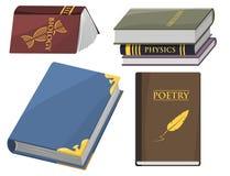 Den färgrika bokvektorillustrationen lär för utbildningskunskap för litteratur studien öppnade stängda läroboken för dokumentet Royaltyfri Bild